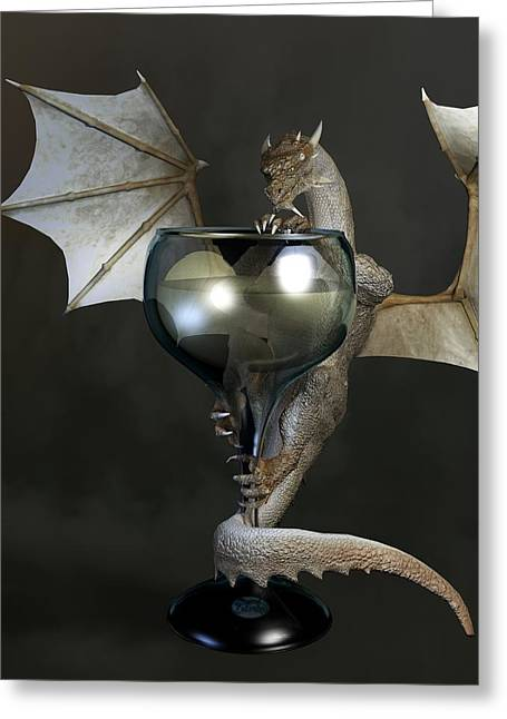 Sauvignon Digital Art Greeting Cards - White Wine Dragon Greeting Card by Daniel Eskridge