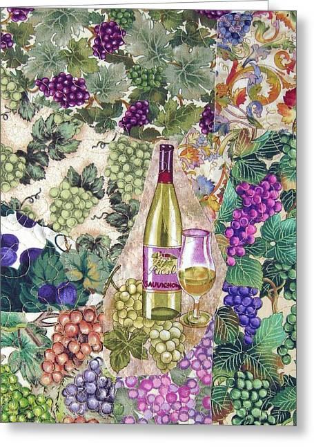 Cocktails Tapestries - Textiles Greeting Cards - White Wine Greeting Card by Loretta Alvarado