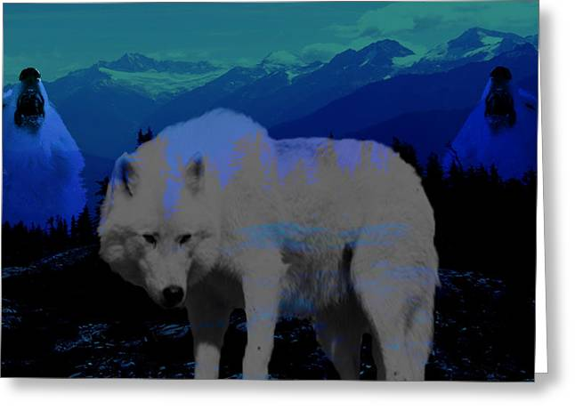 Blue Pastels Greeting Cards - White wolves Greeting Card by Evelyn Patrick