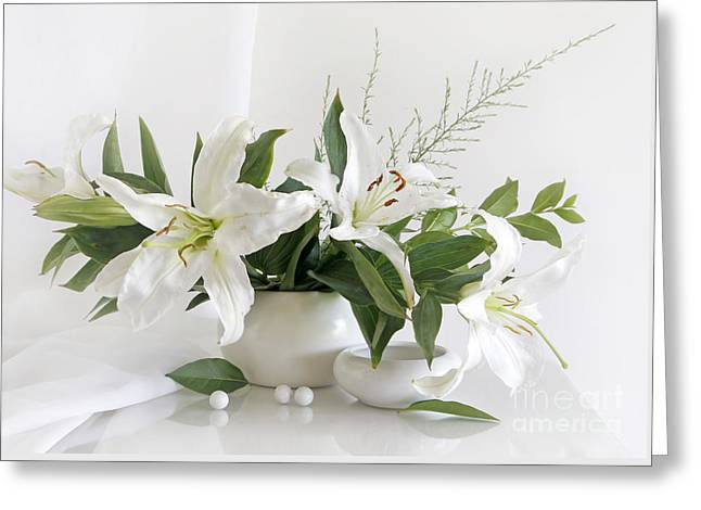 Whites Lilies Greeting Card by Matild Balogh