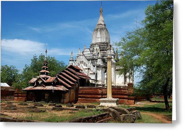 Bagan Greeting Cards - Whitewashed Lemyethna temple Greeting Card by RicardMN Photography