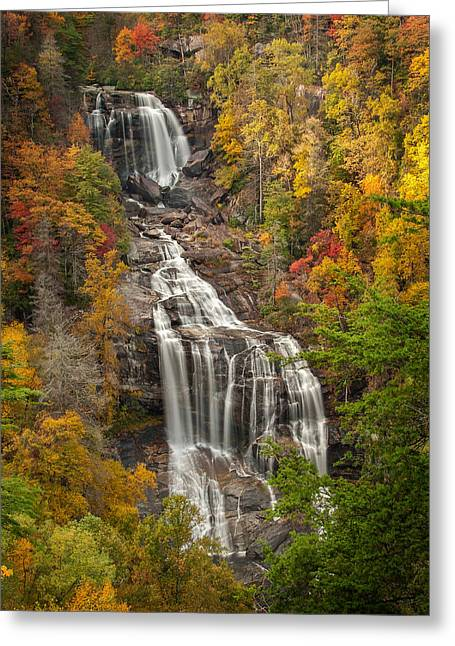 Fall Trees With Stream. Greeting Cards - Whitewater Falls 1 Greeting Card by Joye Ardyn Durham