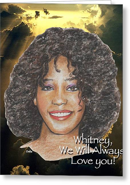 Whitney Houston Greeting Card by Michael Delia