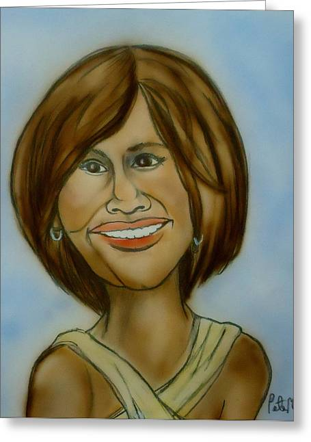 Caricature Portraits Greeting Cards - Whitney Houston Greeting Card by Pete Maier