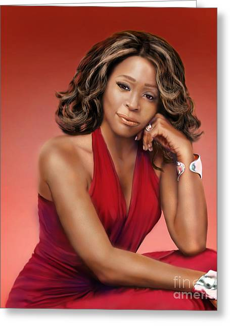Super Star Greeting Cards - Whitney Houston Greeting Card by Reggie Duffie