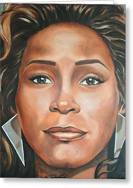 Portraits By Timothe Greeting Cards - Whitney Houston Greeting Card by Timothe Winstead