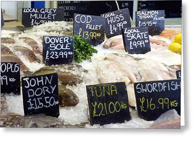 Swordfish Greeting Cards - Whitstable Fish Market Greeting Card by Carla Parris