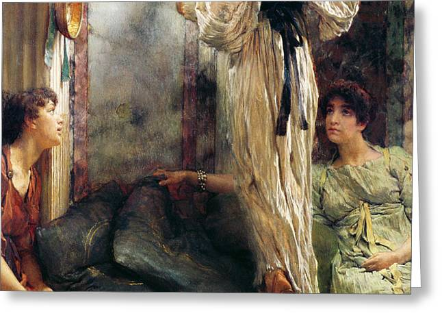 Who Is It Greeting Card by Sir Lawrence Alma-Tadema