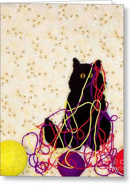 Cat Prints Tapestries - Textiles Greeting Cards - Who Me Greeting Card by Loretta Alvarado