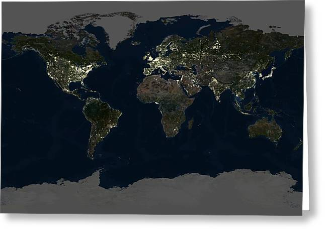 Planet Map Greeting Cards - Whole Earth At Night, Satellite Image Greeting Card by Planetobserver