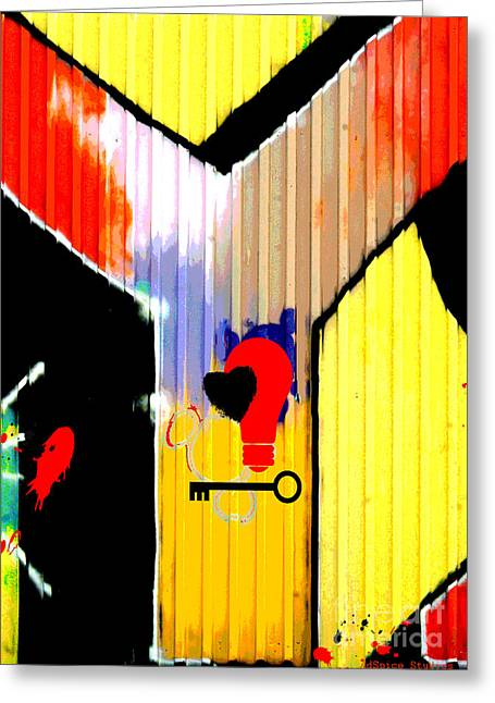 Urbano Greeting Cards - Why Graffiti Greeting Card by AdSpice Studios