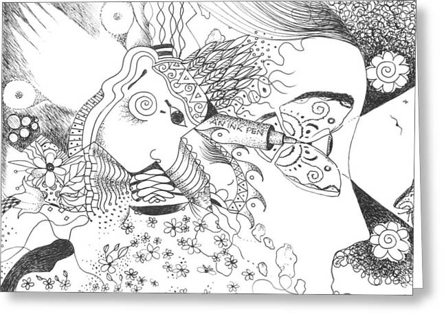 Sacred Drawings Greeting Cards - Why Not Flowers Greeting Card by Helena Tiainen