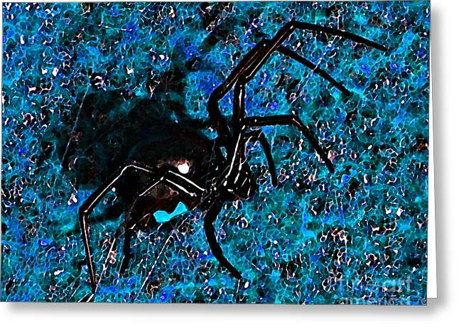 Red Hourglass Greeting Cards - Wicked Widow - Blue Greeting Card by Al Powell Photography USA