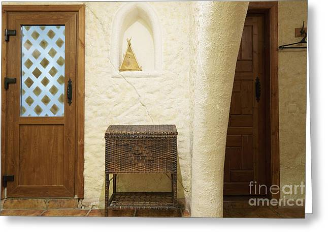 Hamper Greeting Cards - Wicker Chest and Doors Greeting Card by Magomed Magomedagaev
