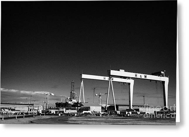 Wolff Greeting Cards - Wide angle shot of the Harland and Wolff shipyard in Belfast Northern Ireland  Greeting Card by Joe Fox