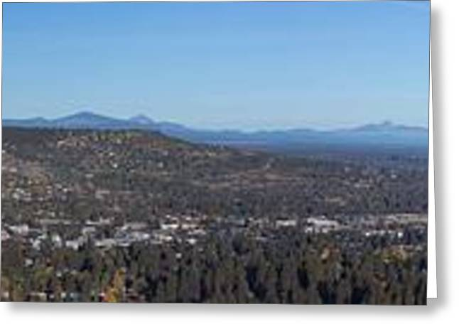 Bend Greeting Cards - Wide Panorama of Bend Oregon Greeting Card by Twenty Two North Photography