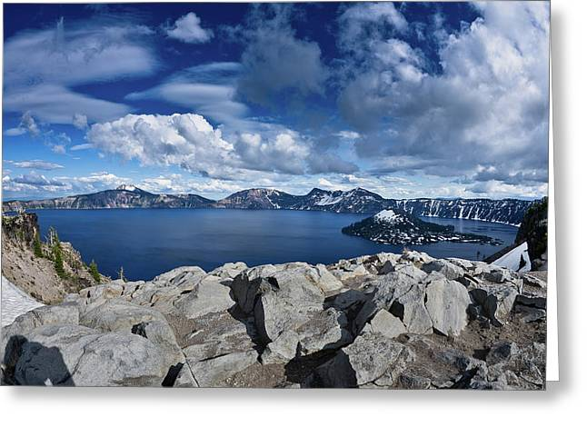 Crater Lake View Greeting Cards - Wide View of Crater Lake Greeting Card by Greg Nyquist