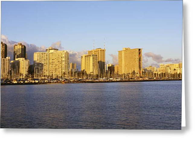 Ocean Panorama Greeting Cards - Wide Waikiki Greeting Card by Carl Shaneff - Printscapes