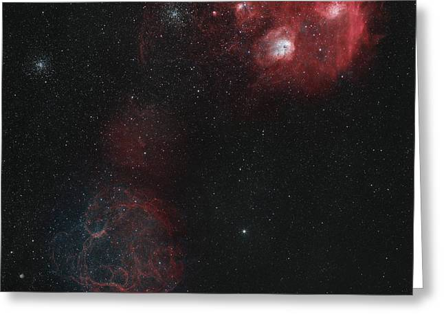 Spaghetti Greeting Cards - Widefield View Of Of Simeis 147 Greeting Card by Rolf Geissinger