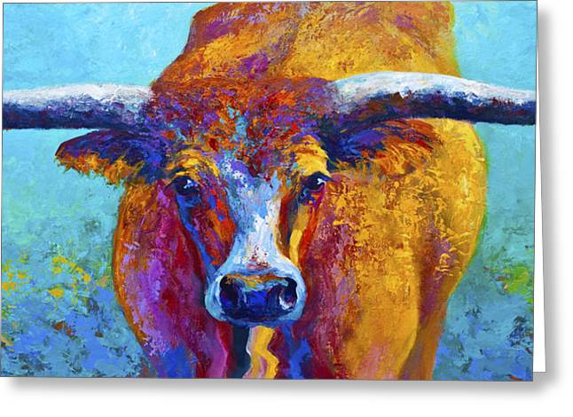 Texas Greeting Cards - Widespread - Texas Longhorn Greeting Card by Marion Rose