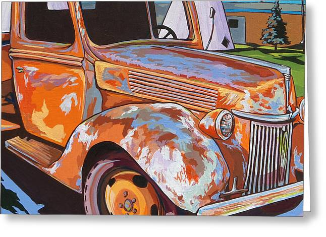 Headlight Paintings Greeting Cards - Wigwam Motel Greeting Card by Sandy Tracey