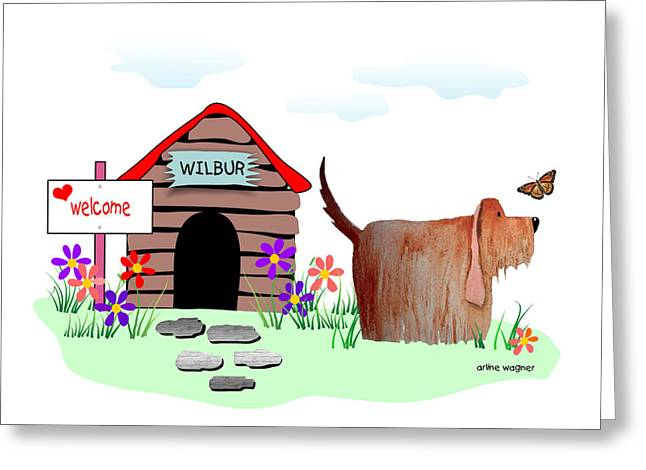 Wilbur And The Butterfly Greeting Card by Arline Wagner