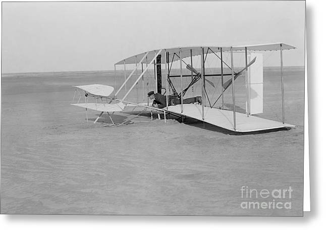 Famous Aviators Greeting Cards - Wilbur Wright Crash Landing In Wright Greeting Card by Photo Researchers