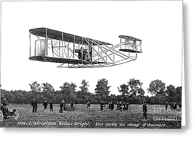 Famous Aviators Greeting Cards - Wilbur Wright Flight Demonstration Greeting Card by Science Source