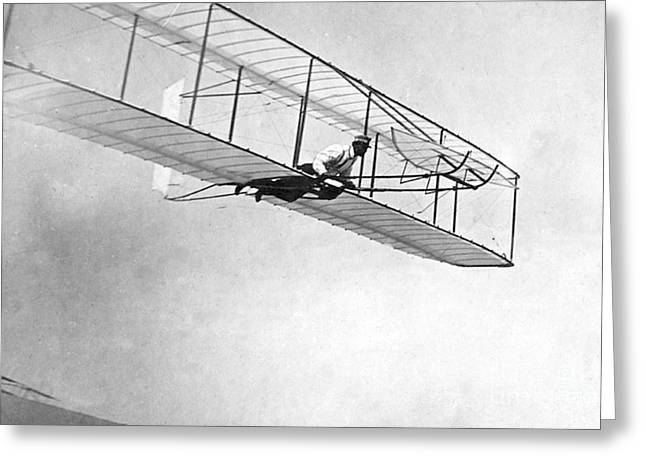 Famous Aviators Greeting Cards - Wilbur Wright Pilots Early Glider, 1902 Greeting Card by Science Source