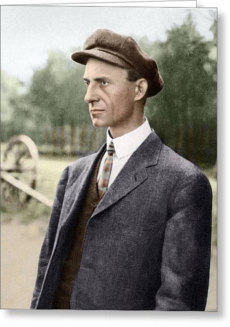 Aviation Pioneers Greeting Cards - Wilbur Wright, Us Aviation Pioneer Greeting Card by Sheila Terry