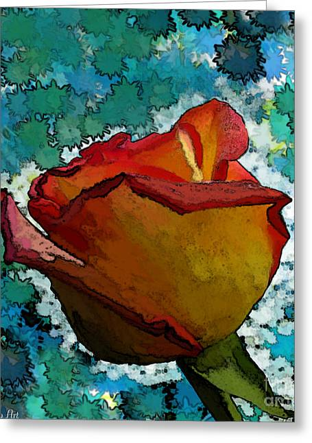 Flower Blossom Ceramics Greeting Cards - Wild and crazy Rose bud Greeting Card by Debbie Portwood