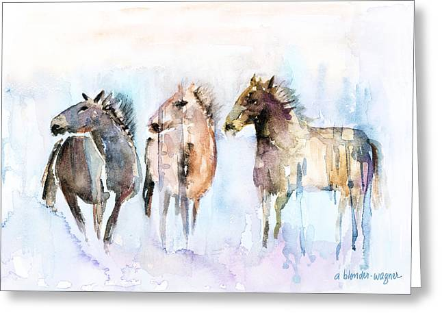 Wild Horse Greeting Cards - Wild And Free Greeting Card by Arline Wagner