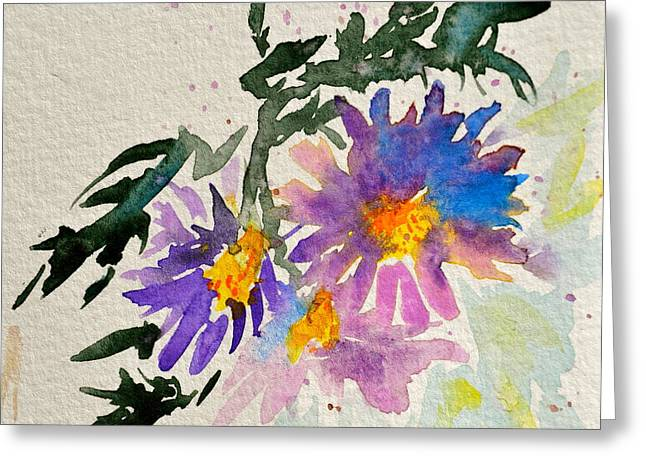 Aster Paintings Greeting Cards - Wild Asters Greeting Card by Beverley Harper Tinsley