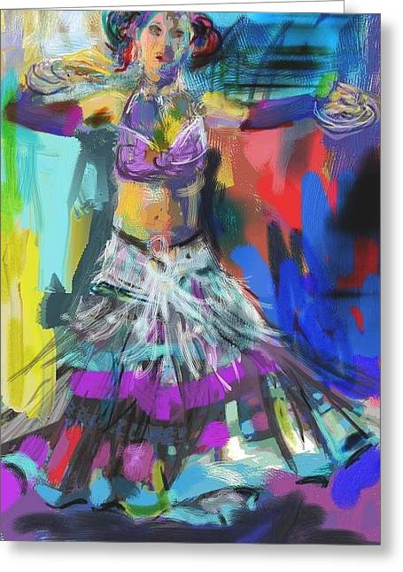 Full Skirt Greeting Cards - Wild Belly Dancer Greeting Card by Barbara Kelley