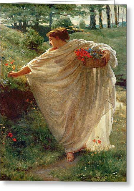 Maiden Greeting Cards - Wild Blossoms Greeting Card by Sir Edward John Poynter