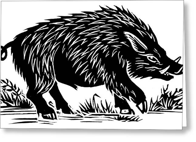 Linocut Greeting Cards - Wild Boar, Woodcut Greeting Card by Gary Hincks