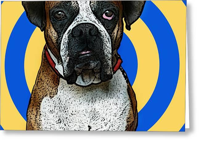 Fun Digital Art Greeting Cards - Wild Boxer 1 Greeting Card by Bibi Romer