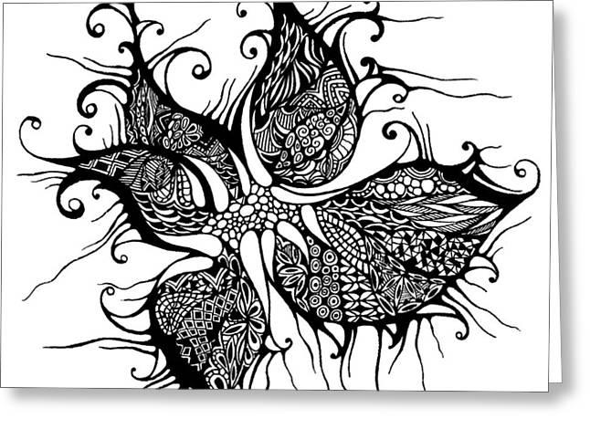 Tendrils Drawings Greeting Cards - Wild flower Greeting Card by Ievgeniia Lytvynovych
