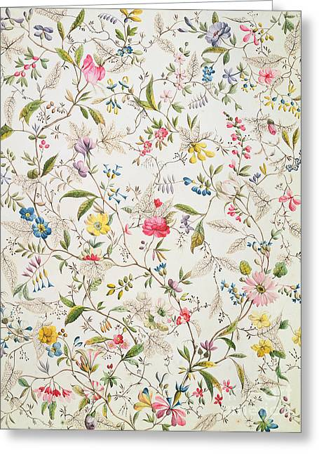 Wallpaper Tapestries Textiles Greeting Cards - Wild flowers design for silk material Greeting Card by William Kilburn