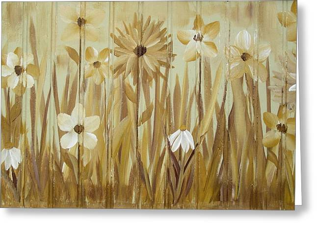 Repetition Paintings Greeting Cards - Wild Flowers Greeting Card by Kathy Sheeran