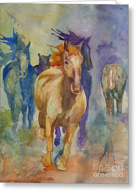 Wild Horse Greeting Cards - Wild Horses Greeting Card by Gretchen Bjornson