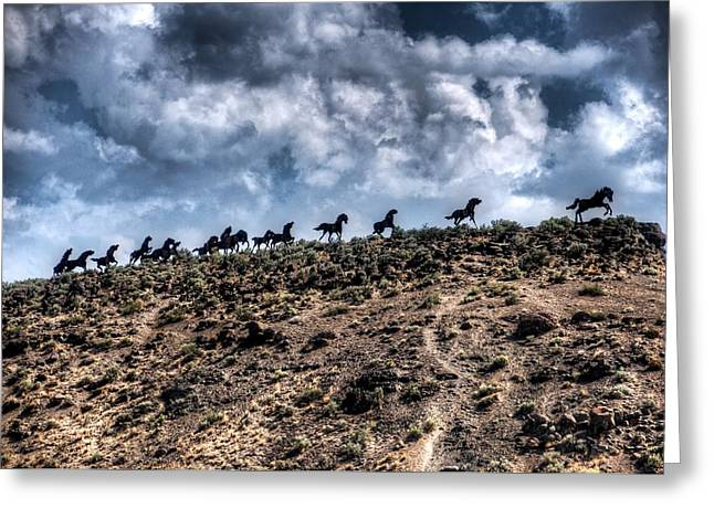 Steel Sculpture Greeting Cards - Wild Horses Monument Greeting Card by Spencer McDonald