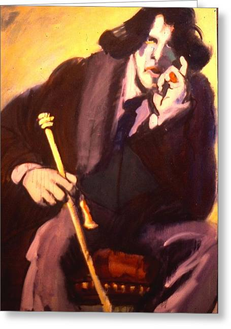 Oscar Wilde Paintings Greeting Cards - Wild Oscar Greeting Card by Les Leffingwell