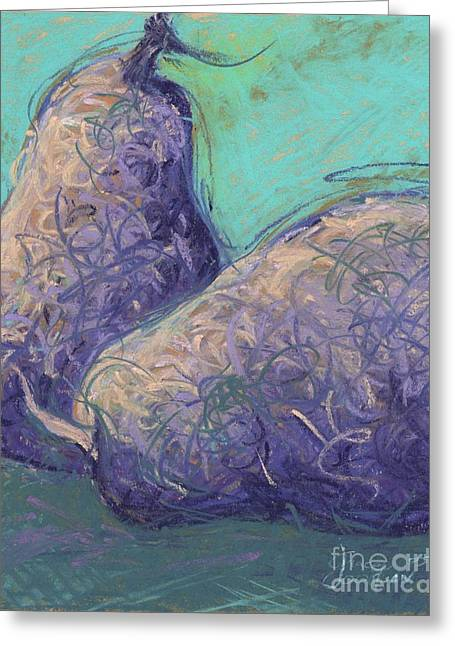 Life Line Pastels Greeting Cards - Wild Pears Purple Greeting Card by Grace Goodson