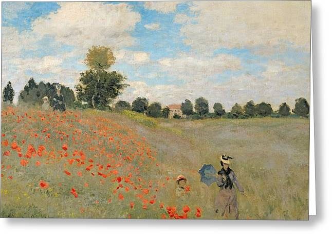 Fields Greeting Cards - Wild Poppies near Argenteuil Greeting Card by Claude Monet