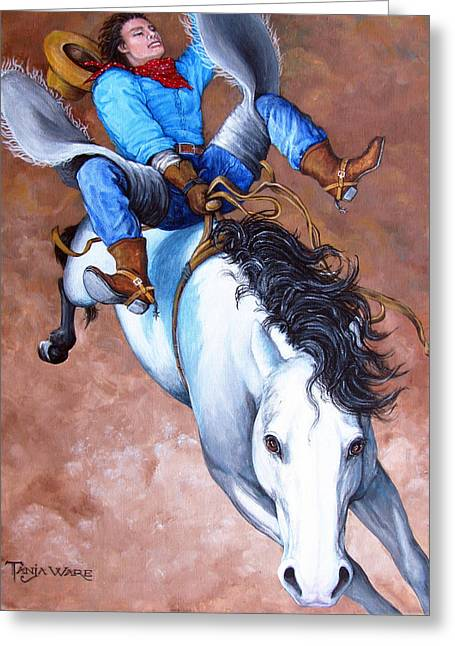 Bronc Greeting Cards - Wild Ride Greeting Card by Tanja Ware