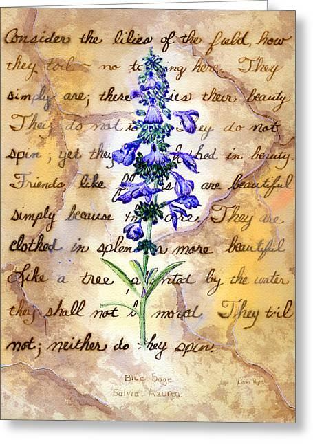 Linda Pope Greeting Cards - Wild Sage Greeting Card by Linda Pope