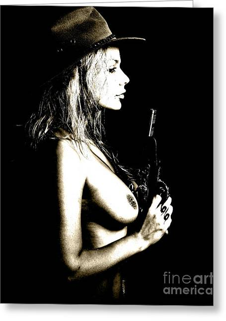 Naked Greeting Cards - Wild West  Greeting Card by Naman Imagery