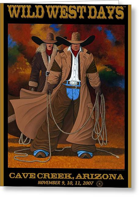Arizona Cowgirl Greeting Cards - Wild West Days Print 2007 Greeting Card by Lance Headlee