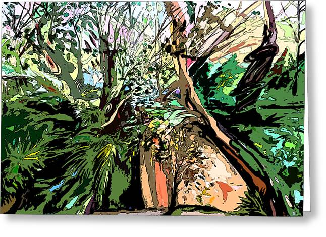 Brook Mixed Media Greeting Cards - Wild Wood Greeting Card by Mindy Newman